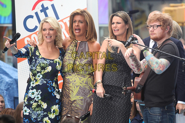 NEW YORK, NY - JULY 6: Megyn Kelly, Hoda Kotb, Savannah Guthrie and Ed Sheeran  on NBC's &quot;Today&quot; at Rockefeller Plaza  on July 6, 2017 in New York City. <br /> CAP/MPI/DIE<br /> &copy;DIE/MPI/Capital Pictures