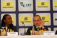 Fabiana (e) jogadoras da seleção brasileira feminina de vôlei, durante entrevista coletiva nesta SEGUNDA-FEIRA (13)  no Hotel Marriot Guarulhos.FOTO ALE VIANNA/BRAZIL PHOTO PRESS
