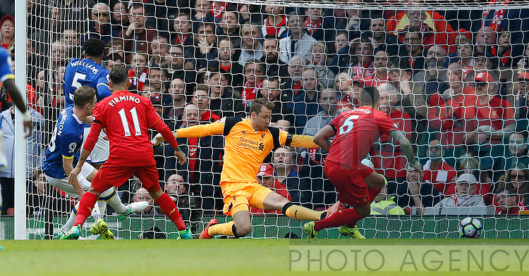 Matthew Pennington of Everton scores to equalise during the English Premier League match at Anfield Stadium, Liverpool. Picture date: April 1st 2017. Pic credit should read: Simon Bellis/Sportimage