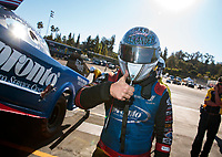 Nov 17, 2019; Pomona, CA, USA; NHRA funny car driver Blake Alexander during the Auto Club Finals at Auto Club Raceway at Pomona. Mandatory Credit: Mark J. Rebilas-USA TODAY Sports