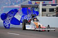 Feb. 19, 2012; Chandler, AZ, USA; NHRA top fuel dragster driver Clay Millican during the Arizona Nationals at Firebird International Raceway. Mandatory Credit: Mark J. Rebilas-