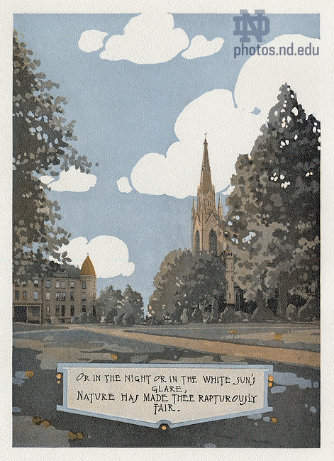 "Dome yearbook 1916, page 14:  Drawing of Main Quad with Sorin Hall and the Basilica of the Sacred Heart exterior.  Caption:  ""Or in the night or in the white sun's glare, nature has made thee rapturously fair.""  Drawing by Joseph Patrick Flynn.  Poem by Rev. Thomas E. Burke, CSC.  Image from the University of Notre Dame Archives."