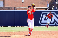 GREENSBORO, NC - FEBRUARY 22: Madison Robicheau #12 of Fairfield University catches a line drive during a game between Fairfield and North Carolina at UNCG Softball Stadium on February 22, 2020 in Greensboro, North Carolina.