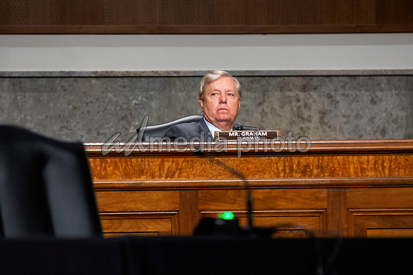 United States Senator Lindsey Graham (Republican of South Carolina) listens during the U.S. Senate Committee on the Judiciary hearing on Capitol Hill in Washington D.C., U.S.,  as they consider the nomination of Cory Wilson to be United States Circuit Judge For The Fifth Circuit on Wednesday, May 20, 2020.  Credit: Stefani Reynolds / CNP/AdMedia