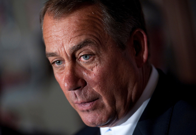 UNITED STATES - JUNE 19: House Speaker John Boehner, R-Ohio, speaks to the press after a Republican Conference meeting. (Photo by Chris Maddaloni/CQ Roll Call)