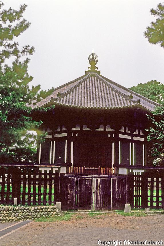 "Nara: Octagonal building--""Hokuendo"" or North Octagonal Hall. Kofuku-ji Temple Precinct.  17th century reconstruction of original, 721. Photo '81."