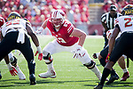 Wisconsin Badgers offensive lineman Michael Deiter (63) during an NCAA Big Ten Conference football game against the Maryland Terrapins Saturday, October 21, 2017, in Madison, Wis. The Badgers won 38-13. (Photo by David Stluka)