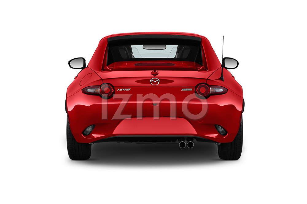 Straight rear view of 2019 Mazda MX-5-Miata-RF Grand-Touring 2 Door Targa Rear View  stock images