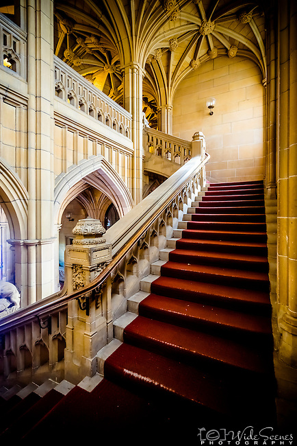 Grand staircase at historic quadrant building at Sydney University, NSW, Australia