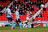 Doncaster Rovers v Coventry City, 23.4.2016<br /> Sky Bet League One<br /> Picture Shaun Flannery/Trevor Smith Photography<br /> Rovers Ricardo Calder unlucky to fire wide with his long range shot.