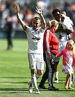Leon Britton of Swansea City waves to the fans at full time during the Barclays Premier League match between Swansea City and Manchester City played at The Liberty Stadium, Swansea on 15th May 2016