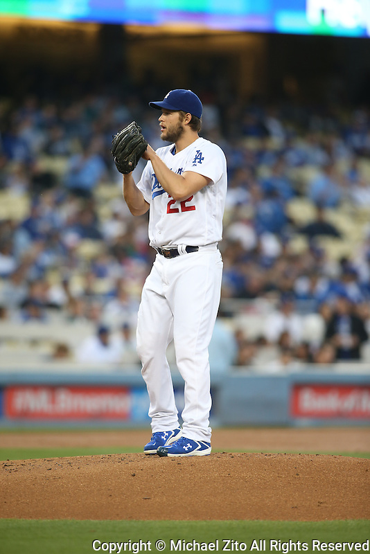 05/12/16 Los Angeles, CA:  Los Angeles Dodgers starting pitcher Clayton Kershaw #22 during an MLB game played between the Los Angeles Dodgers and the New York Mets at Dodger Stadium