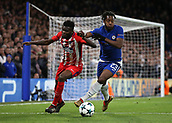 5th December 2017, Stamford Bridge, London, England; UEFA Champions League football, Chelsea versus Atletico Madrid; Michy Batshuayi of Chelsea challenges Thomas Partey of Atletico Madrid