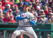 New York Mets shortstop Asdrubal Cabrera (13) takes a called third strike in the seventh inning against the Washington Nationals at Nationals Park in Washington, D.C. on Thursday, April 5, 2018.  The Mets won the game 8-2.<br /> Credit: Ron Sachs / CNP<br /> (RESTRICTION: NO New York or New Jersey Newspapers or newspapers within a 75 mile radius of New York City)
