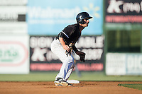 Grant Massey (16) of the Kannapolis Intimidators takes his lead off of second base against the Greenville Drive at Intimidators Stadium on June 8, 2016 in Kannapolis, North Carolina.  The Intimidators defeated the Drive 3-2.  (Brian Westerholt/Four Seam Images)