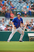 St. Lucie Mets left fielder Tim Tebow (15) leads off third base in the top of the eighth inning during a game against the Florida Fire Frogs on July 23, 2017 at Osceola County Stadium in Kissimmee, Florida.  St. Lucie defeated Florida 3-2.  (Mike Janes/Four Seam Images)