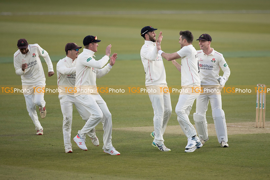 The Lancashire players celebrate with James Anderson the early wicket of Nick Gubbins during Middlesex CCC vs Lancashire CCC, Specsavers County Championship Division 2 Cricket at Lord's Cricket Ground on 13th April 2019