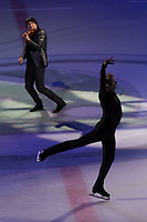 Olypmic and European champion figure skater Evgeny Plushenko (bottom) of Russia and Emmy-award winning violin player-composer musician Edvin Marton (top) of Hungary perform during the Kings on Ice skating show in Budapest, Hungary on April 29, 2018. ATTILA VOLGYI