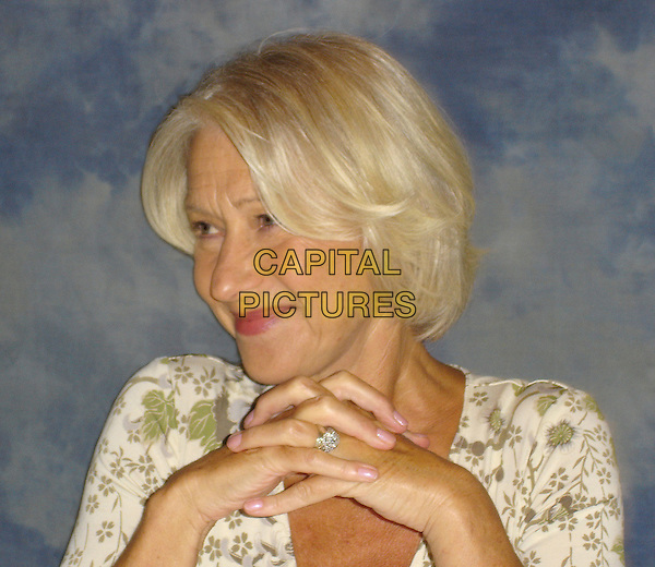 "HELEN MIRREN.Photocall for ""The Queen"", The Palm Room in the Four Seasons hotel, California, USA..August 25th, 2006.Ref: AW.headshot portrait ring.www.capitalpictures.com.sales@capitalpictures.com.©Anita Weber/Capital Pictures."