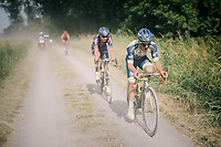 Tom Devriendt (BEL/Wanty-Groupe Gobert) in dusty pursuit<br /> <br /> 3rd Dwars Door Het hageland 2018 (BEL)<br /> 1 day race:  Aarschot > Diest: 198km