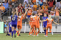 Houston, TX - Saturday Sept. 03, 2016: Morgan Brian, Poliana Barbosa celebrates scoring, Cari Roccaro, Denise O'Sullivan during a regular season National Women's Soccer League (NWSL) match between the Houston Dash and the Orlando Pride at BBVA Compass Stadium.