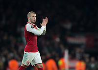 Jack Wilshere of Arsenal applauds the fans during the UEFA Europa League round of 16 2nd leg match between Arsenal and AC Milan at the Emirates Stadium, London, England on 15 March 2018. Photo by Vince  Mignott / PRiME Media Images.
