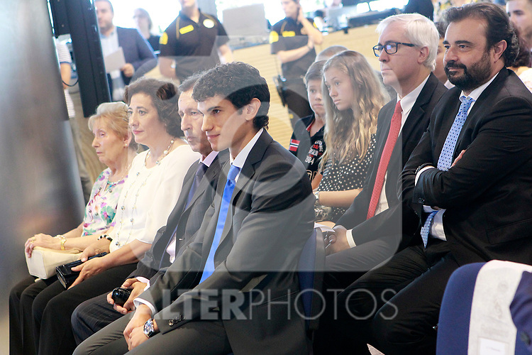 Real Madrid's new player Jesus Vallejo with his family and his lawyer during his official presentation. July 7, 2017. (ALTERPHOTOS/Acero)