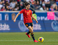 HARRISON, NJ - MARCH 08: Lucía García #17 of Spain dribbles during a game between Spain and USWNT at Red Bull Arena on March 08, 2020 in Harrison, New Jersey.