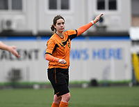 20200208 – BRUGGE, BELGIUM : referee Irmgard Van Meirvenne pictured during a women soccer game between Dames Club Brugge and KRC Genk Ladies on the 15 th matchday of the Belgian Superleague season 2019-2020 , the Belgian women's football  top division , saturday 08 th February 2020 at the Jan Breydelstadium – terrain 4  in Brugge  , Belgium  .  PHOTO SPORTPIX.BE | DAVID CATRY