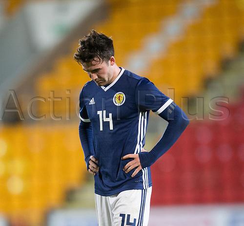 14th November 2017, McDiarmid Park, Perth, Scotland; UEFA Under 21 European Championships qualification, Scotland U-21 versus Ukraine U-21; Scotland's Stephen Mallan shows dejection after Scotland lose 2-0 to Ukraine