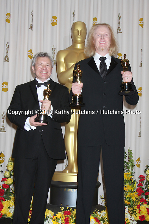 Ray Beckett (L) and Paul N.J. Ottosson, winners of Best Sound Editing award for 'The Hurt Locker,.in the Press Room of the 82nd Academy Awards.Kodak Theater.Los Angeles, CA.March 7, 2010.©2010 Kathy Hutchins / Hutchins Photo....