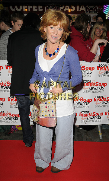 KAREN HENTHORN .Arrivals at the Inside Soap Awards, Gilgamesh Restaurant, The Stables, Chalk Farm Road, Camden, London, england..September 29th, 2008.full length blue cardigan tied top shrug white top bag wide leg baggy trousers casual dress necklace cross body .CAP/CAN.©Can Nguyen/Capital Pictures.