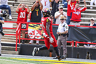 College Park, MD - September 15, 2018:  Maryland Terrapins defensive back Darnell Savage Jr. (4) scores a touchdown during the game between Temple and Maryland at  Capital One Field at Maryland Stadium in College Park, MD.  (Photo by Elliott Brown/Media Images International)