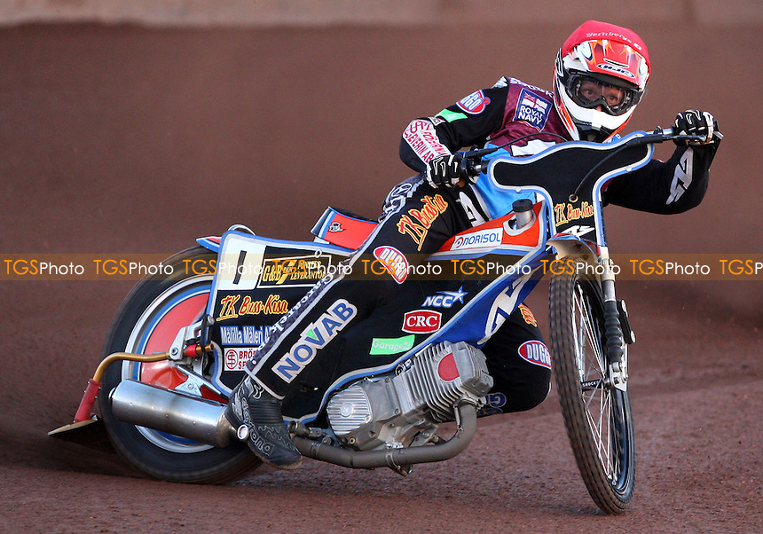 Peter Karlsson of Lakeside Hammers - Lakeside Hammers vs Peterborough Panthers, Elite League Speedway at the Arena Essex Raceway, Pufleet - 11/05/12 - MANDATORY CREDIT: Rob Newell/TGSPHOTO - Self billing applies where appropriate - 0845 094 6026 - contact@tgsphoto.co.uk - NO UNPAID USE..