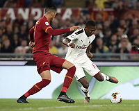 Football, Serie A: AS Roma - AC Milan, Olympic stadium, Rome, October 27, 2019. <br /> Milan's Leao (r) in action with Roma's Chris Smalling (l)  during the Italian Serie A football match between Roma and Milan at Olympic stadium in Rome, on October 27, 2019. <br /> UPDATE IMAGES PRESS/Isabella Bonotto