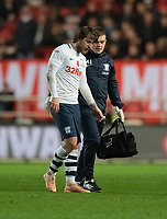 Preston North End's Ben Pearson coming off after an injury<br /> <br /> Photographer David Horton/CameraSport<br /> <br /> The EFL Sky Bet Championship - Bristol City v Preston North End - Saturday 10th November 2018 - Ashton Gate Stadium - Bristol<br /> <br /> World Copyright &copy; 2018 CameraSport. All rights reserved. 43 Linden Ave. Countesthorpe. Leicester. England. LE8 5PG - Tel: +44 (0) 116 277 4147 - admin@camerasport.com - www.camerasport.com