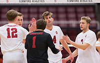 STANFORD, CA - January 5, 2019: Kyler Presho, Jordan Ewert, Kyle Dagostino, Paul Bischoff, Eric Beatty at Maples Pavilion. The Stanford Cardinal defeated UC Santa Cruz 25-11, 25-17, 25-15.
