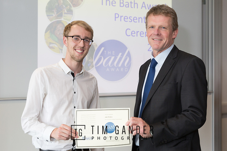 29289 Bath Award 01 June 2017<br /> <br /> The Bath Award 2017 is presented by Pro-Vice-Chancellor (Learning and Teaching) Professor Peter Lambert.<br /> <br /> Professor Lambert presents a certificate to Jake Pitchers.<br /> <br /> Client: Samantha Chaffey, Bath Award Manager.