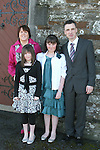 Shannon McAuley at her Confirmation in Clogherhead Church with her family, Lorraine, Derek and Roisín...Photo NEWSFILE/Jenny Matthews.(Photo credit should read Jenny Matthews/NEWSFILE)....This Picture has been sent you under the condtions enclosed by:.Newsfile Ltd..The Studio,.Millmount Abbey,.Drogheda,.Co Meath..Ireland..Tel: +353(0)41-9871240.Fax: +353(0)41-9871260.GSM: +353(0)86-2500958.email: pictures@newsfile.ie.www.newsfile.ie.FTP: 193.120.102.198.
