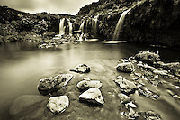 A small creek and its waterfall in Flores Island, at the Azore, Portugal. Edited in sepia tone
