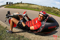 Mike Burrows riding his own design Ratcatcher recumbent HPV<br />