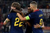 Edin Dzeko of AS Roma celebrates with Nicolo Zaniolo after scoring the goal of goal of 2-0 for his side <br /> Roma 19-9-2019 Stadio Olimpico <br /> Football Europa League 2019/2020 <br /> AS Roma -  Istanbul Basaksehir <br /> Photo Andrea Staccioli / Insidefoto