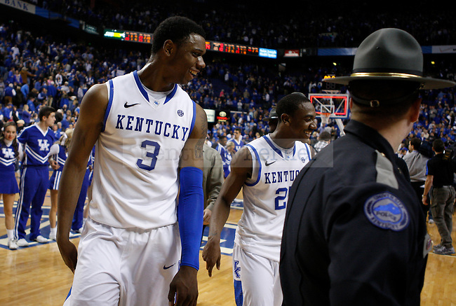 Terrence Jones and Marquis Teague walk off the court after the game against Vanderbilt University, in  Rupp Arena, on Saturday, Feb. 25, 2012. UK won 83-74. Photo by Latara Appleby | Staff ..