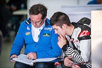 Maverick Viñales and Sito Pons in Tuenti HP 40 Racing box at pre season winter test IRTA Moto3 & Moto2 at Ricardo Tormo circuit in Valencia (Spain), 11-12-13 February 2014