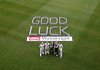 PICTURE BY VAUGHN RIDLEY/SWPIX.COM - Cricket - County Championship - Lancashire County Cricket Club 2012 Media Day - Old Trafford, Manchester, England - 03/04/12 - Lancashire CCC's Gary Keedy, Glen Chapple, Mr. Thwaites Wainwright, Peter Moores and Oliver Newby appear in front of a 'Good Luck' message made out of cases of beer from Thwaites.