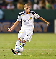 CARSON, CA – July 9, 2011: LA Galaxy midfielder Bryan Jordan (27) during the match between LA Galaxy and Chicago Fire at the Home Depot Center in Carson, California. Final score LA Galaxy 2, Chicago Fire FC 1.