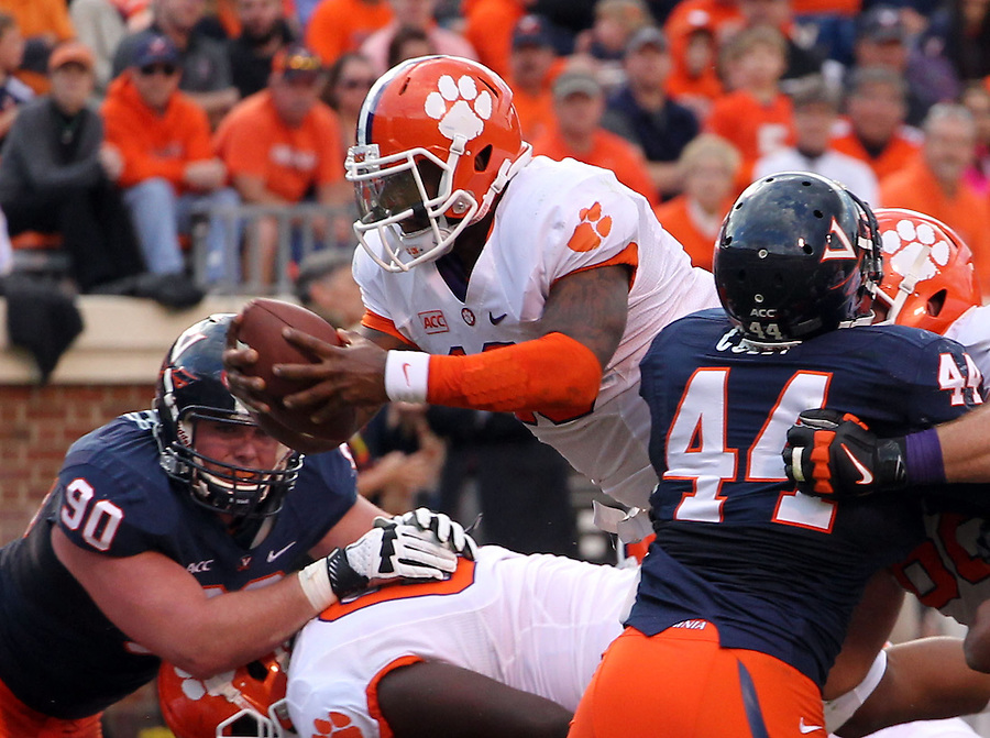 Clemson quarterback Tajh Boyd (10) handles the ball during and NCAA football game at Scott Stadium in Charlottesville, VA. Clemson defeated Virginia 59-10. Photo/Andrew Shurtleff