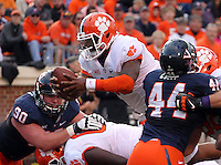 Clemson quarterback Tajh Boyd (10) handles the ball during and NCAA football game at Scott Stadium in Charlottesville, VA. Clemson defeated Virginia 59-10. Photo/Andrew Shurtleff
