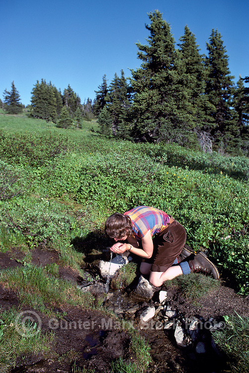 Hiker drinking Water from Mountain Stream along Three Brothers Trail in Cascade Mountains, Manning Provincial Park, BC, British Columbia, Canada (Model Released)