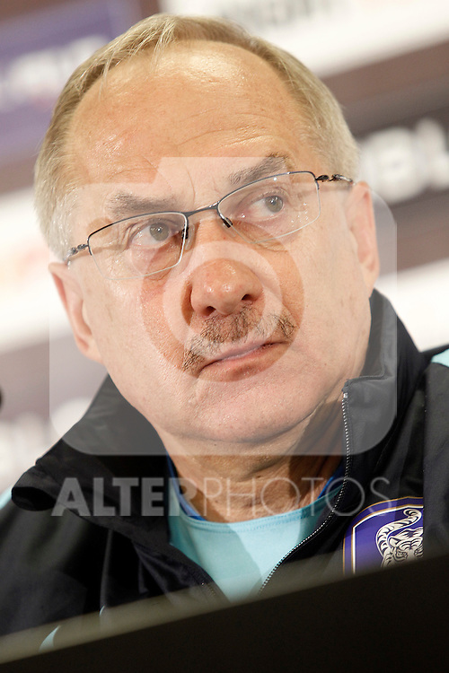 South Korea's coach Ulrich Stielike in press conference during previous friendly match. May 31,2016.(ALTERPHOTOS/Acero)